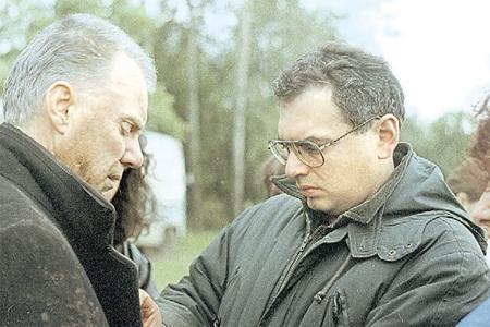 На съёмках «Цареубийцы» с Малкольмом Макдауэллом